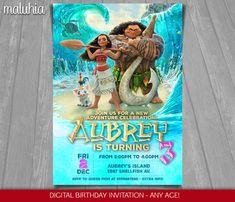 Moana invitación - fiesta de cumpleaños de Moana de Disney de Disney invitan a Moana - invitación del cumpleaños de Moana-