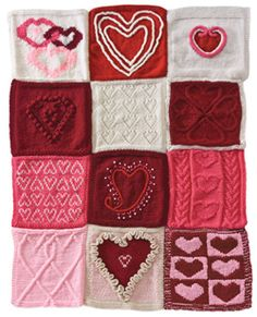 DIY Knitted Have a Heart Afghan. Patterns (click on each square) for squares at Knit Simple here. Contest winners of Knit Simple's heart-themed square. Not for beginner knitters (unless you get help!).