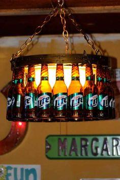 bottle crafts diy Beer Bottle Chandelier with Dimmer Cover