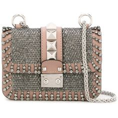Valentino Garavani mini 'Glam Lock' shoulder bag (€2.735) ❤ liked on Polyvore featuring bags, handbags, shoulder bags, valentino, valentino purses, embellished handbags, kiss-lock handbags, embroidered purse and chain strap purse
