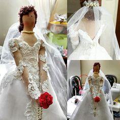 Tilda noiva, encomenda de miniatura do vestido original. Noiva satisfeita!