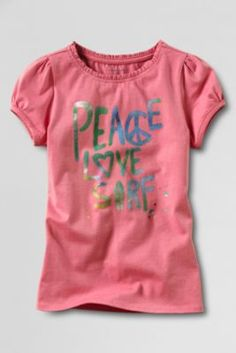 Sizes S and M. $9.97.Little Girls' Short Sleeve Peace Graphic T-shirt from Lands' End
