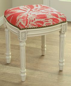 Red Floral Linen-Upholstered Wooden Stool add to my favorites