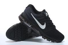 Nike Air Max 2017 All Black White Logo Shoes Women Men