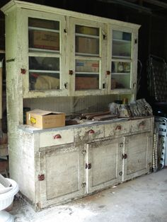 antique hutch: before