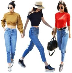 Kendall Jenner. Mom jeans, platform shoes, and choker necklace.