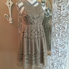 """free people Rocco Dress. Adorable Rocco dress in Stone/2. 01-30-2013. F851Y966. Lace dress fully lined. Hand wash and lay flat to dry. NWT  My mannequin's measurements are 35"""" 26"""" 35"""". Dress fits the mannequin just perfect. 32"""" shoulder to hem. Free People Dresses Midi"""