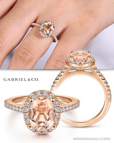 Rose Gold Morganite and Diamond Halo Engagement Ring Morganite Engagement, Rose Gold Engagement, Perfect Engagement Ring, Beautiful Engagement Rings, Halo Diamond Engagement Ring, Unique Diamond Rings, Diamond Jewelry, Fine Jewelry, Jewellery