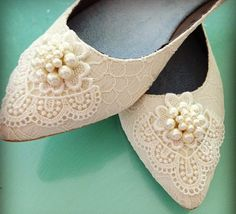 Dainty Pearl Ponted Toe Bridal Ballet Flats Wedding Shoes - Any Size - Pick your own crystal color on Etsy, $140.00