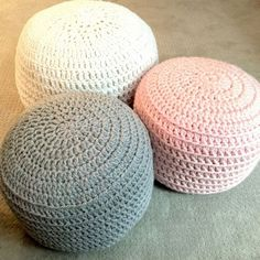 Pink and Grey Hand Crochet Ottoman Pouf, Footstool, Cushion! STUFFED! Perfect Christmas gift for the holidays! #BedroomIdeas