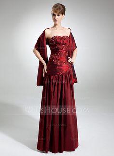 A-Line/Princess Sweetheart Floor-Length Taffeta Bridesmaid Dress With Ruffle Beading (007002098) - JJsHouse
