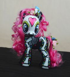 day of the dead, my little pony, sugar skull, altered art
