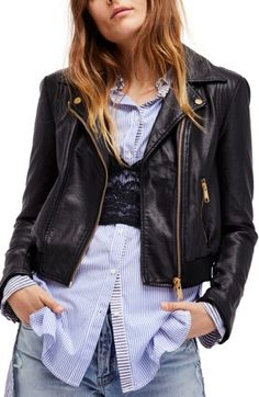 FREE PEOPLE MODERN FAUX LEATHER BOMBER JACKET. #freepeople #cloth #