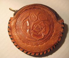 Charming Vintage Hand Tooled Leather 1950's Coin by StarPower99