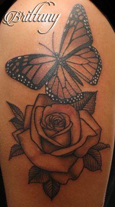 Butterfly rose tattoo monarch butterfly black and grey Skinny Boy Tattoo Post Falls Idaho