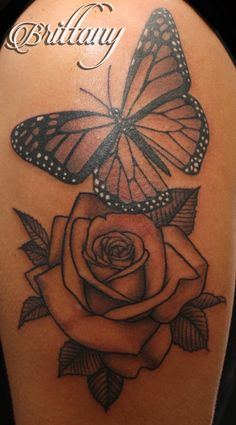 Butterfly rose tattoo monarch butterfly black and grey Skinny Boy Tattoo Post Falls Idaho