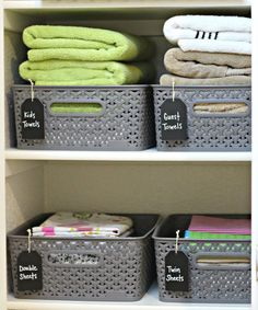 Organizing a Small Linen Closet - Linen Closet Organisation - Linen Clost Organizing Baskets with Chalkboard tags - Linen Closet Organization, Home Organisation, Bathroom Organization, Organization Hacks, Bathroom Storage, Airing Cupboard Organisation, Bathroom Ideas, Organize Bathroom Closet, Small Bathroom