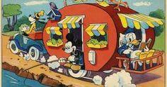 Old Vintage Walt Disney Color Postcard, Donald, Mickey Mouse, Goofy on vacance. Retro Disney, Vintage Disney, Disney Love, Disney Art, Vintage Cartoon, Disney Family, Disney Stuff, Walt Disney Mickey Mouse, Minnie Mouse