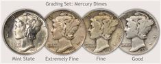 Grading Examples of Mercury Dimes in Mint State, Extremely Fine, Fine, and Good Grade Old Coins Worth Money, Old Money, Silver Dimes, Silver Coins, Silver Value, Old Coins Value, Valuable Coins, Fine Fine, Coin Worth