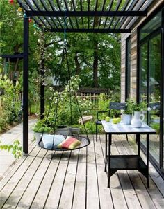 Terrasse mit Nestschaukel Terrace with nest swing Related posts: Legend Exterior Cedar Swing Bed&Pergola gabions as decoration in the garden bench dining table terrace furniture wood slats Pergola Canopy, Outdoor Pergola, Wooden Pergola, Backyard Pergola, Backyard Landscaping, Pergola Lighting, Cheap Pergola, Pergola Roof, Pergola Swing