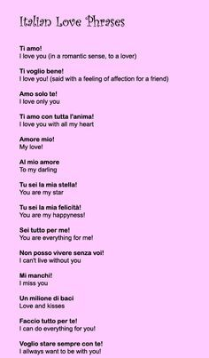 Italian Love Phrases - Learn Romantic Sayings, Quotes, Words and Poems Italian Love Phrases, Italian Quotes, Words In Italian, Italian Love Poems, I Love You Italian, Beautiful Italian Words, Romantic French Phrases, Italian Quote Tattoos, Italian To English