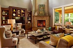 cozy living room with fireplaces