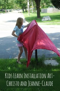 An art project for kids based on the works of Christo and Jeanne-Claude. It's a great way to get kids talking about contemporary artists and seeing there's more to art ed than Picasso! Kids Learn Installation Art • Artchoo.com  #kidsart
