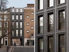 This Building s New Dark Facade Is Made From 5000 Interlocking Bricks Photography by Gilbert McCarragher Bureau de Change has recently completed a building in London that features an interlocking brick facade nbsp hellip British Architecture, Amazing Architecture, Modern Architecture, Materials And Structures, His Dark Materials, London Brick, Interlocking Bricks, Timber Kitchen, Modern Windows