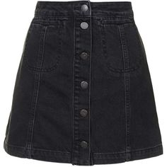TopShop Petite Moto Black Button Front Skirt (1.130 UYU) ❤ liked on Polyvore featuring skirts, bottoms, black, faldas, high waisted knee length skirt, topshop skirts, petite skirts, button front skirt and high-waist skirt