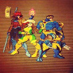 X-Men Perler Hama Beads Design, Diy Perler Beads, Geek Perler, Lego Mosaic, Geek Crafts, Perler Bead Art, Perler Patterns, Fuse Beads, Beading Patterns
