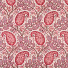 Physic on Classic Linen - Pink/Latte/Blossom/Blue Paisley Wallpaper, Print Wallpaper, Fabric Wallpaper, Textiles, Textile Patterns, Textile Design, William Morris Patterns, French Fabric, Vintage Art Prints