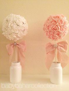 Baby Shower Centerpiece Topiary Set of 6 - # Centerpiece - Baby - Frisur Ideen Baby Shower Centerpieces, Party Centerpieces, Flower Centerpieces, Baby Shower Favors, Shower Party, Baby Shower Parties, Bridal Shower, Wedding Decorations, Baby Showers