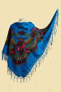 Kleurige petrol blauwe folklore sjaal met rozenprint