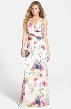 54f4b4e768c Hailey by Adrianna Papell Twist Back Print Chiffon Gown