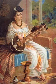 LADY WITH VEENA - RAVI VARMA PAINTINGS - Paintings