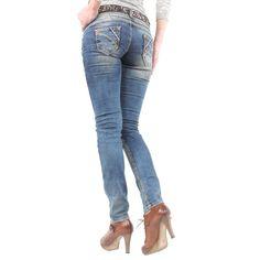 Damen Jeans mit tollem Used Look von Cipo   Baxx im Slim Fit Schnitt    Farbe  Blau 723298e8c0