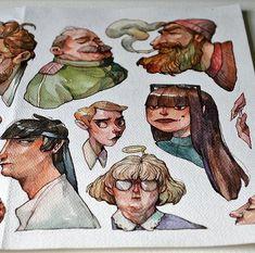 Marija Tiurina - Small Drawings and Paintings 2017 Art And Illustration, Illustrations, Small Drawings, Art Drawings, Arte Sketchbook, Diego Rivera, Sketchbook Inspiration, Norman Rockwell, Character Drawing