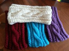 Cable Knit Headband, Ear Warmer with button for Women's, Teens, Kids on Etsy, $28.00