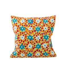 Square Cushion Cover with Neon Coloured Embroidery