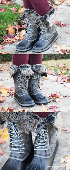 """BRRR! Cold weather has arrived! Let the Bamboo Blizzard-02 Winter Duck Boots warm you up! Features a round toe, lace up design, rubber/faux leather upper, and faux fur ankle trim. Finished off with a 1"""" flat heel, side zipper for easy on and off, slightly padded insole, and faux fur lined interior for extra warmth. Keep toasty by pairing with your favorite bomber jacket!"""