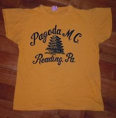 RARE VINTAGE 1950's 50's PAGODA MOTORCYCLE CLUB READING PENNSYLVANIA T-SHIRT TEE | eBay