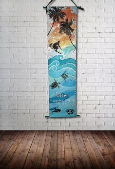 Canvas Growth Chart Custom Beach Surfboard by SweetDreamMurals
