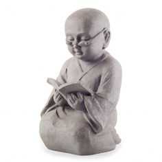 Sitting Reading Garden Buddha Ornament In Grey Finish Buddah Statue, Reading Garden, Buddha Garden, Sitting Buddha, Garden Wall Art, Wise Monkeys, Buddha Head, Grey Gardens, Garden Stones