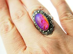 Vintage dragon's breath opal ring. Those colors! And from the 1920s. Wow. $135
