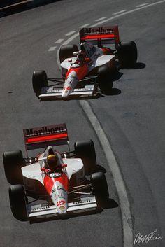 (27) Ayrton Senna da Silva - McLarenMP4/5B Honda RA100E V10 - Honda Marlboro McLaren - (28) Gerhard BERGER - McLaren MP4/5B Honda RA100E V10 - Honda Marlboro McLaren - XLVIII Grand Prix Automobile de Monaco - 1990 World Formula One Championship, round 4