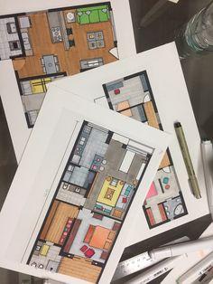#rendering Architecture Symbols, Interior Architecture Drawing, Interior Design Renderings, Architecture Concept Drawings, Drawing Interior, Watercolor Architecture, Architecture Sketchbook, Interior Sketch, Architecture Portfolio