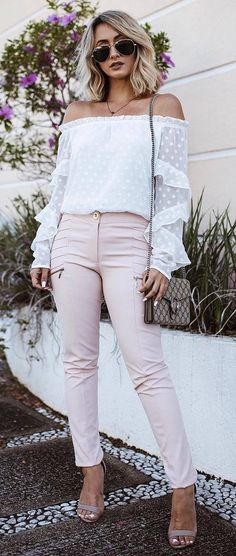 cute outfit idea off shoulder blouse + bag + pants + heels