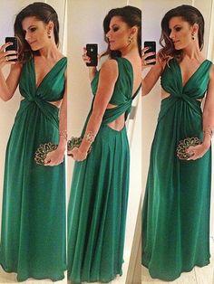 Trendy Hunter Criss Cross Chiffon Floor-length V-neck Prom Dress
