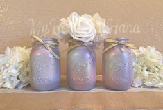 Baby Shower Decorations, Baby Shower Centerpieces, Unicorn Baby Shower, Unicorn Mason Jars, Pink and Gold Decorations, Cotton Candy Decor