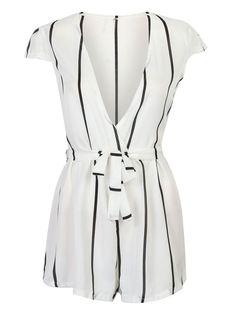 Choies Sexy Women White Plunge V Stripe Tie Waist Cap Sleeve Sun Romper Playsuit…